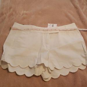 J. Crew scalloped exde Linen shorts